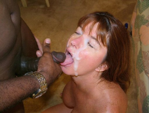 White Mom Takes A Full Cum Load On Face From Black Stud