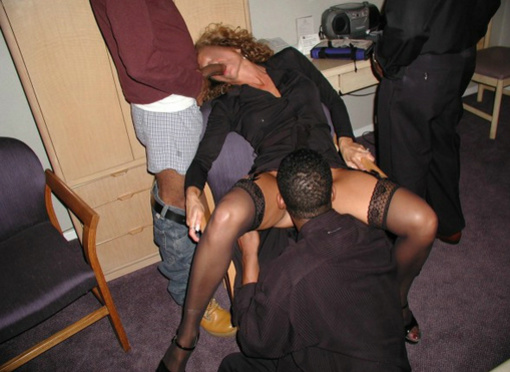 Gangbang Photo White Wife in Interracial Sex with Black Men