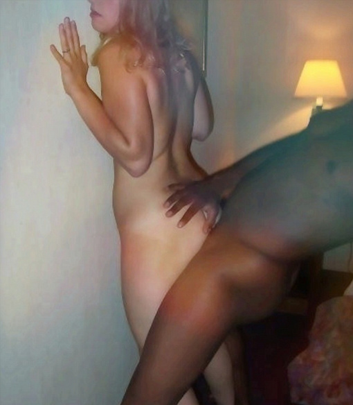 Slutty Blonde Porn Picture Taking Black Cock from Behind