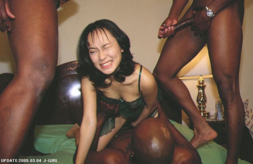 Interracial Picture Asian Woman in Gangbang Sex with Black Men