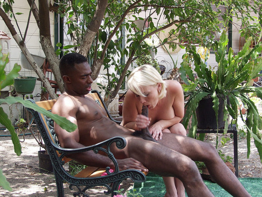 Photo outdoor interracial blowjob