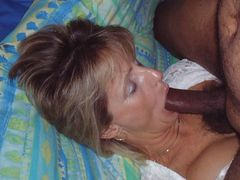 Interracial Blowjob Pictures of Mature White Lady Sucking BBC