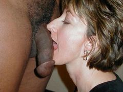 Interracial Porno Pictures of White Mom Blowing Black Penis