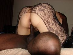 Interracial Fucking Photo of Big White Ass Riding Black Dick