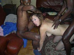 White Slut Wife in Threesome Sex Picture with Black Men