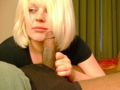 Photo Blonde Woman About to Suck Good a Black Dick