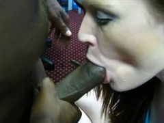 Hot White Chick Swallows Cum Sucked from Big Black Cock