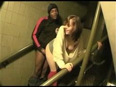 Interracial Outdoor Sex White Girl Fucking Bbc on Stairs