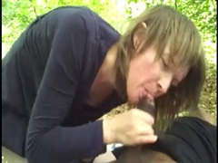 White Mommy Sucks and Rides Black Cock in the Woods