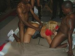 Photo of Blindfolded Blonde Wife Getting Gangbanged by Blacks