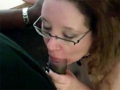Chubby American Woman is Sucking Black Dick Like No One