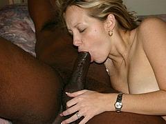 Photo Blonde Sucking Dick of a Black Friend