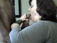 Big Mature White Teacher Sucking on a Big Black Dick