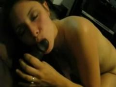 Horny White Girl Sucking on a Big Black Dick