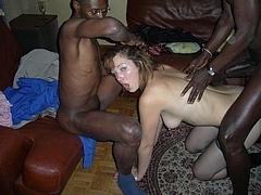 White Slut Wife in Threesome Sex Picture with Black Men