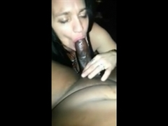 Busty White Brunette Sucking on Long Black Dick with Passion