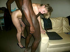 Interracial Picture Caught Sucking on a Big Black Dick