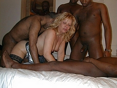 Mature UK Wife in Interracial Gangbang Sex with Blacks - Cuckold Pictures