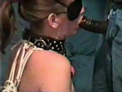 Blindfolded White Woman Sucking so Good on Black Dick