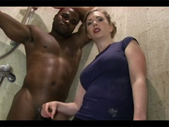Very Hot White Mature Shows how to Give Handjob to Black Cock