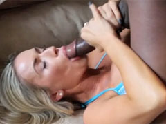 Hot Blonde Swallows Big Black Cock and Tastes Cum on Face