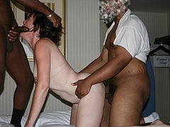 Photo Gangbang Sex Wife Granny with Two Black Men