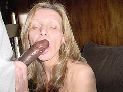 Photo Beautiful Mature Blonde Wife with Black Dick in Mouth