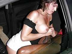 Photo White Girl Stroking a Black Dick in Car