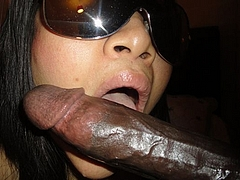 Photo Black Chick Licks a Long Black Dick