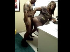 Black Couple Screwing Hard Doggy Style at the Office