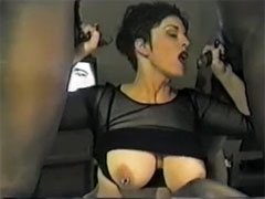 Dirty White Wife Takes Two Black Cocks to Suck for Dinner