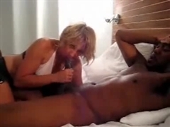 Slutty Blonde White Wife Cleans Up Black Cum from Friend