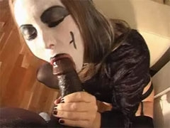 Wife Sucks Black Cock Wearing Mask for Halloween Sex Party