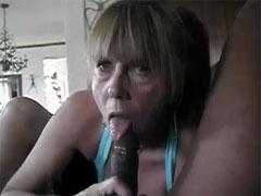 White MILF Slut Blows Big Black Bull Cock
