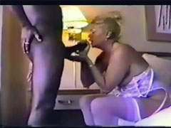 Blonde Mature Milf Cock Sucking Black Man