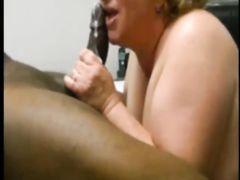 Mature White BBW Tries Milking Her First Big Black Cock