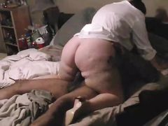 Fat White Woman Riding Hard Black Student with Big Cock