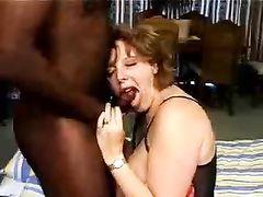 Mature BBW Sucking and doing Titjob to Big Black Cock Bull