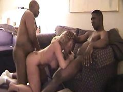 Sexy White Pussy First Interracial Gangbang with Black Studs