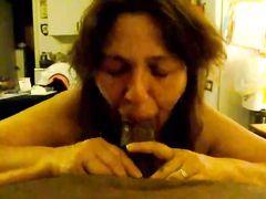 White Married Cheating Woman Sucking Big Black Tube Pipe
