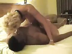 Blonde Wife Riding Hard BBC While Cuckold Hubby Watching
