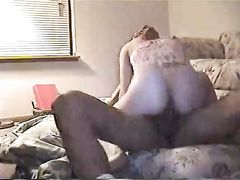 White Amateur Pussy Riding BBC on Interracial Home Sex Tape