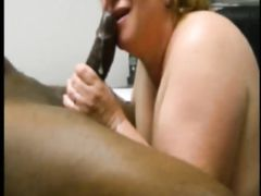Mature White BBW Tries Milking Her First Big Black Dick