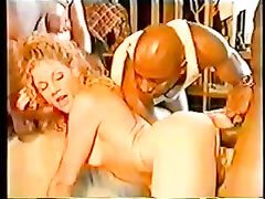 White Trash Pussy Getting Fucked in Interracial Gangbang Sex