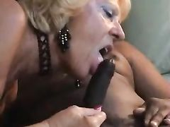 White Blonde Granny Shared with Young Black Guy