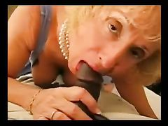 White Granny Sucks and Rides Big Black Cock