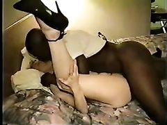 White Blonde Wife Fucked Hard and Creampied by Fat Black Man