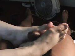 Chubby White Woman Footjob to Big Black Cock on Video