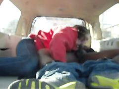 Interracial College Couple Blowjob Video In The Car