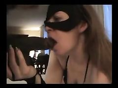 White Masked Housewife Participates in Sex with Black Stud